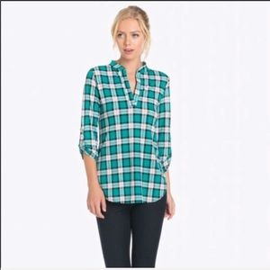 NWT AUDITIONS white and green plaid shirt S,M,L